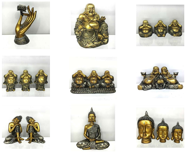 Antique gold home indoor decoration buddha stand on the table