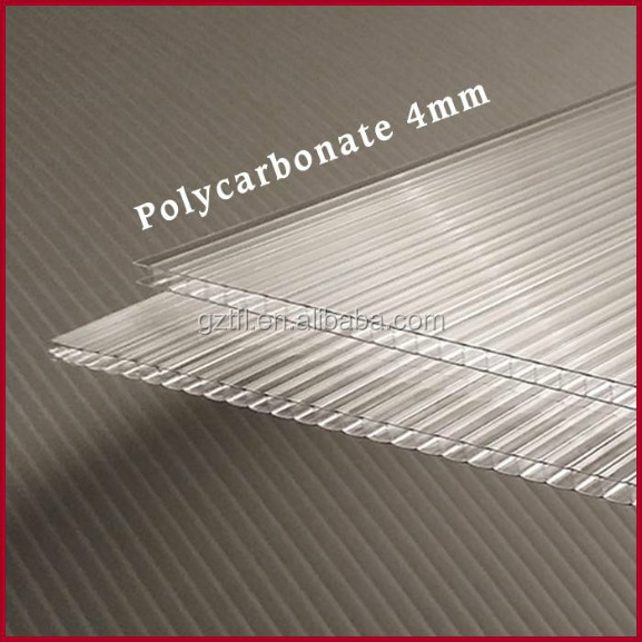 4mm 100% Virgin Grade A PC Resin 50 Micron UV Coating Polycarbonate Twin Wall Hollow Sheets Cheap Price Roofing Panels Clear