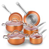 New design aluminum home kitchen king cookware 10pcs copper ceramic cooking pot and pan cookware sets
