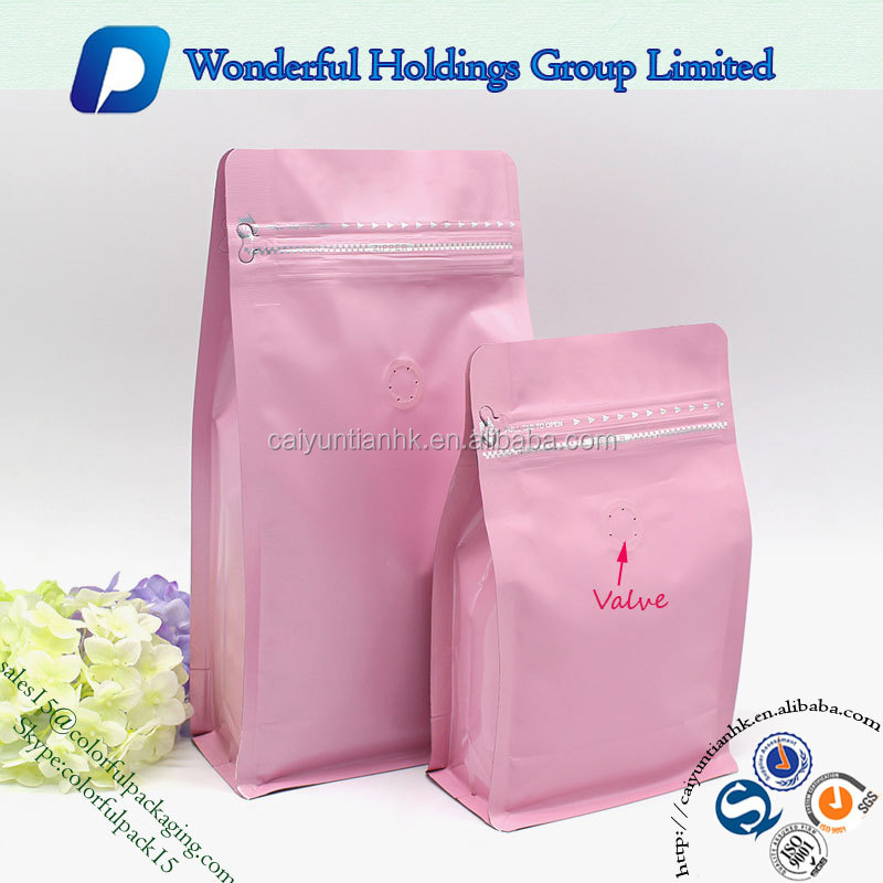 factor customized stand up coffee bag with valve resealable matte foil laminated zipper packaging flat bottom bag