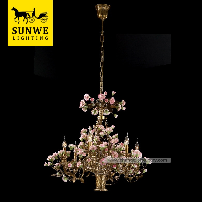 Rococo Country Style 7 Pendant Lights Pink Rose Flowers Bronze Ceramic Castle wall mounted chandelier