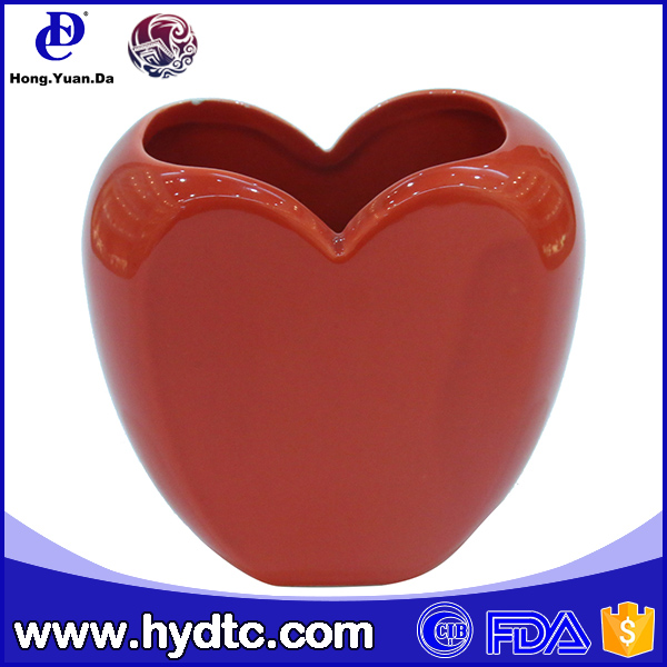 Good gift ceramic red heart shaped flower pot for valentine's day