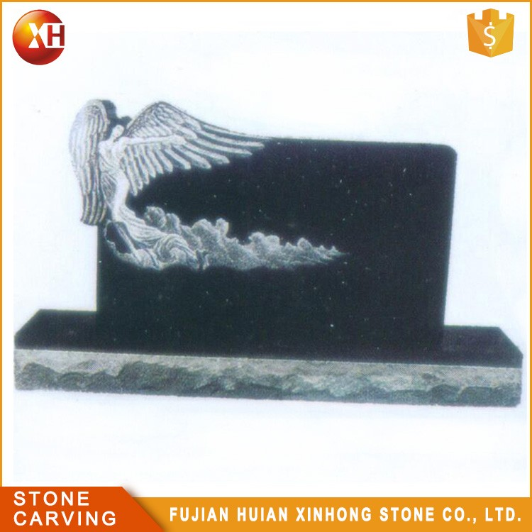 Best Price Black Granite Grave Stone Angel Etching