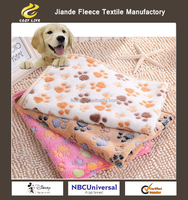 Cute Pet Small Large Warm Paw Print Dog Puppy Fleece Soft Blanket Beds Mat