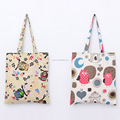 owl print cotton canvas promotion bag shopping bag with handle