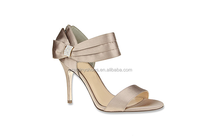 Luxury gold color sandals lady high heel sandals with butterfly knot