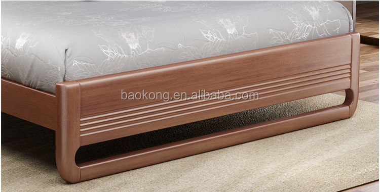 New Design PU Headboard Solid Wood Frame Bed