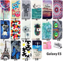 E5 cute phone case,slim flip cover for samsung galaxy e5 with stand