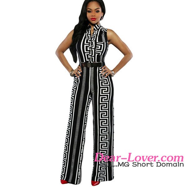 Black Print Gold Belted Sexy Jumpsuits For Ladies