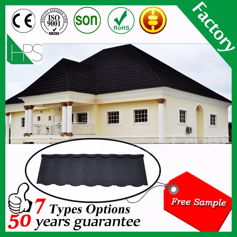 Guangzhou manufacture high quality colorful stone coated metal roof tile