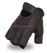 Classic Men's Fingerless Leather Gloves, Gel Padded.