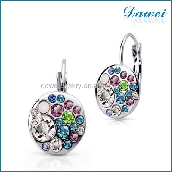 Clip Big Colorful Crystal Earrings