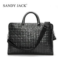 Russia business man loveable classical shoulder bags black woven sheep leather laptop casual bags working useful bags OEM