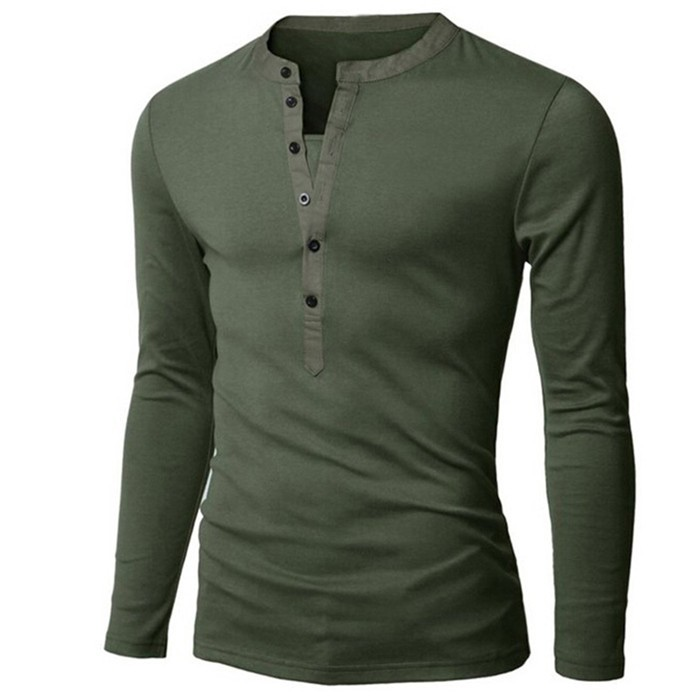T Shirt Men Long Sleeve New Fashion 2016 Mens Brand Clothing Casual Slim V-neck Cotton Tshirt