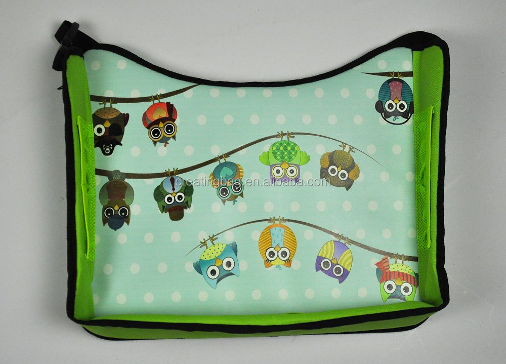 Green Owl Background Detachable Kids Travel Play Tray for Car backseat