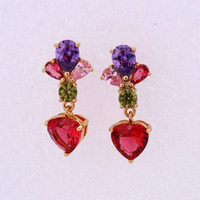 25637-xuping fashion jewelry crystal bead colorful stone drop earrings for girls