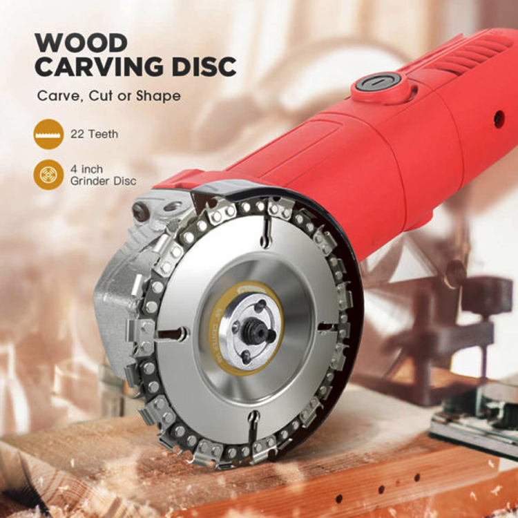 4 Inch 22 Teeth Anti Kickback Wood Carving Chainsaw Disc for Carving Sculpture Small Stump Removal