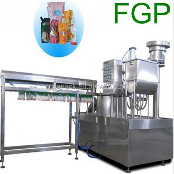 Automatic 2/4/6 nozzle rotary stand up pouch with spout filling and capping machine for fruit juice/milk made in China