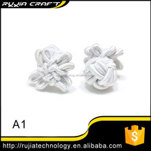 solid white silk flower knots cufflinks