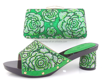 2015 new in women shoes with matching clutch crystal bag MS4241 green