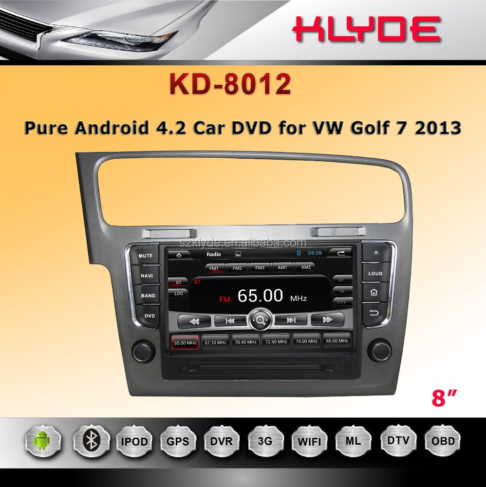klyde 1din car DVD and radio with gps system support amplifier canbus tv bt for golf 7