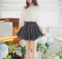 New spring and autumn new ruffled collar collar lace strapless v elastic waist sleeve shirt blouse
