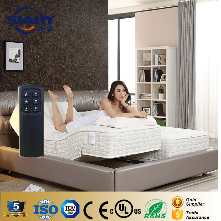 Double King Adjustable Electric Bed With Memory Natural Latex Mattress