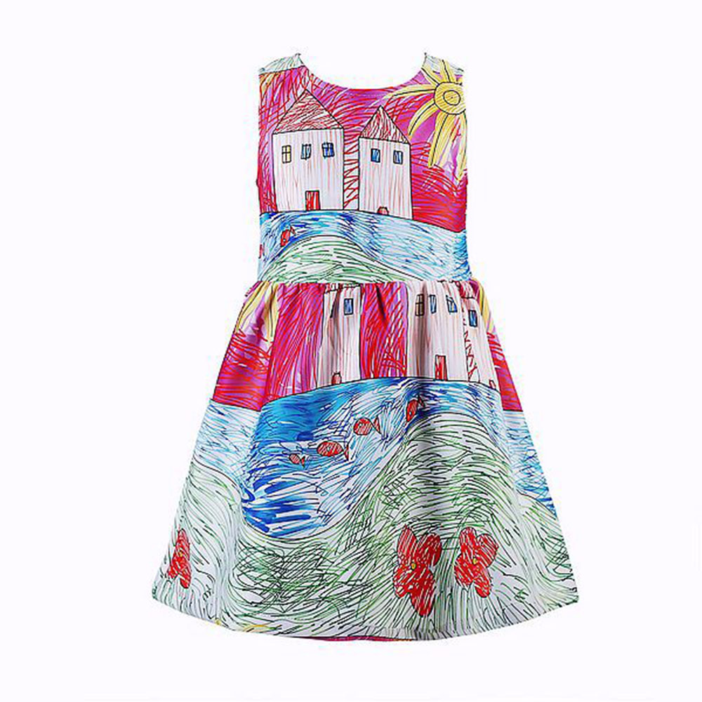 Fashion Graffiti Autumn Girl Clothing Sleeveless Painting Dress Party Dress Women