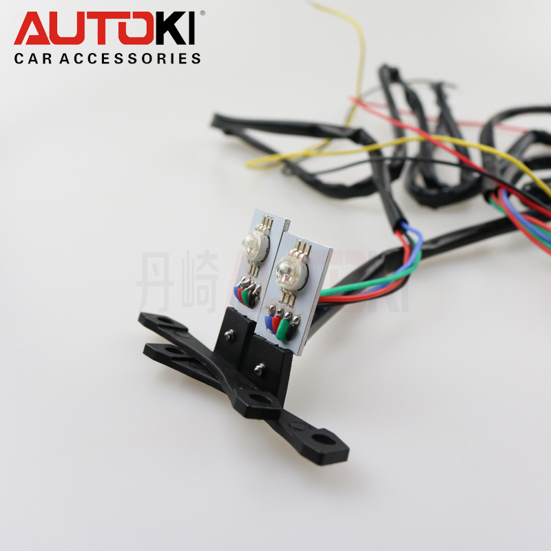 Autoki 1 pair antistatic poly led demon eye 7 color RGB multicolor devil eyes