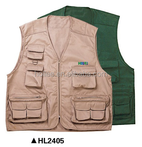 beige poly/cotton multi pockets fishing vests