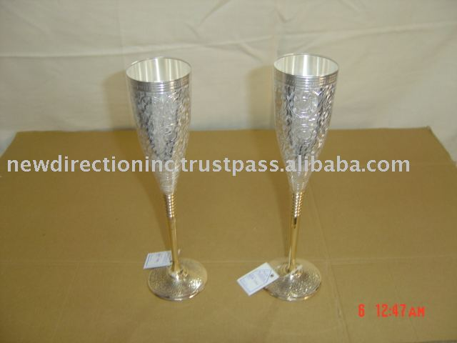 Silver Plated Brass Goblets,silver wine goblets,brass champagne goblet