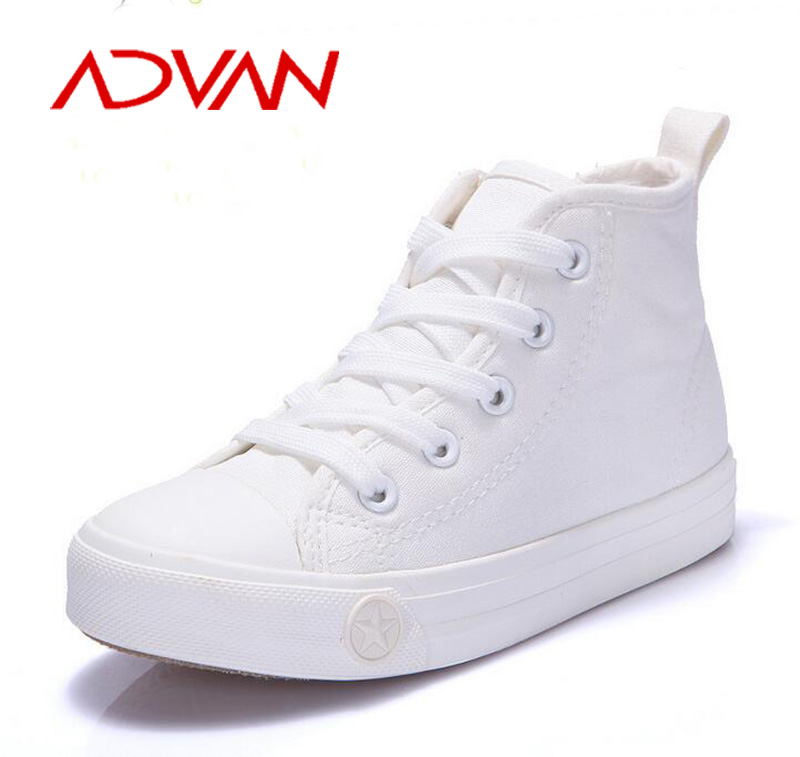 Unisex Purely Color Black White High-cut Canvas Shoes Kids Size 25-37 Online Wholesale