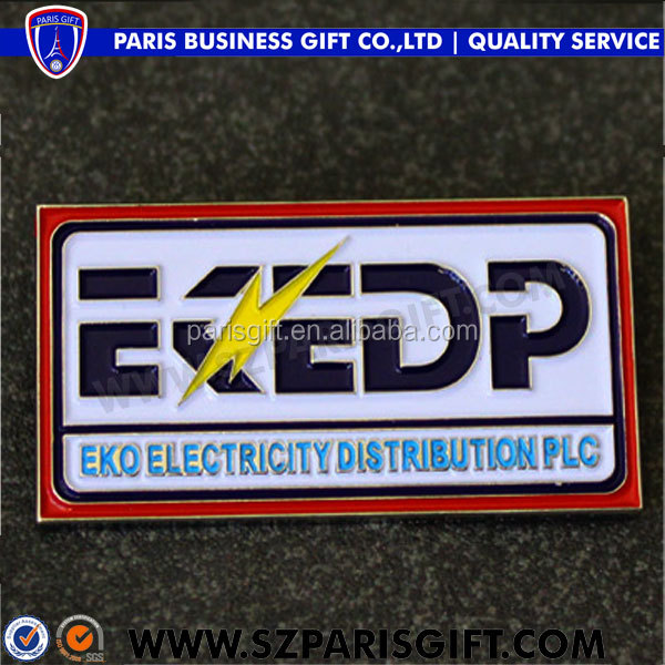 custom poppy red pins enamel badge for electricity company