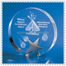 Quartz 2D/3D Laser Round Crystal For Top Selling Awards
