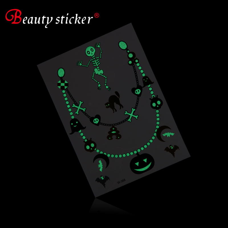 Halloween Adult Intim Skin Body Temporary Tattoo Sticker glow in the dark