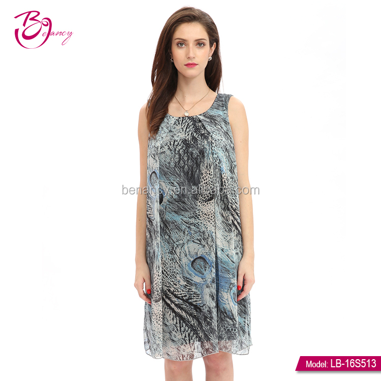 Summer Fashion High Quality Modern Polyester Women Dresses With Print