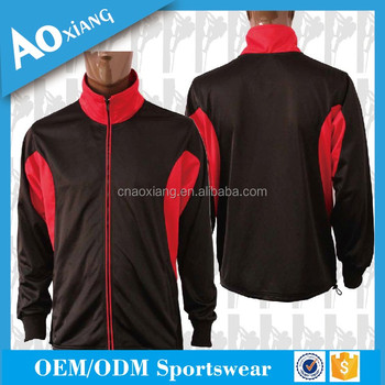 Custom cheap 100% microfibre black and red jacket with print logo