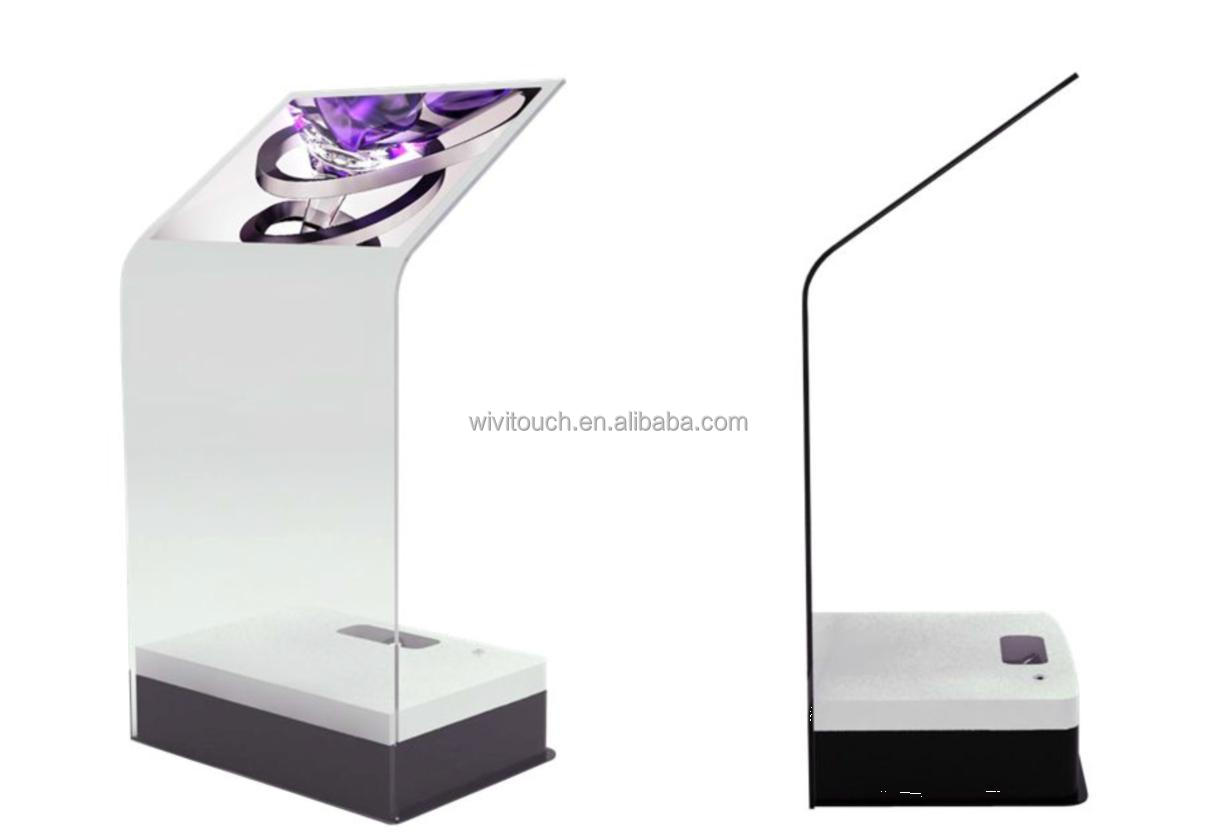 30 inch Interactive Holo Projection Transparent Glass Info Kiosk Terminal with Touch Function