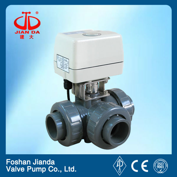 3 way electric actuated 4 inch pvc ball valve