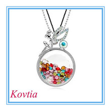 Lovely Floating Necklace Tinkerbell Angel multicolor floating crystal necklace