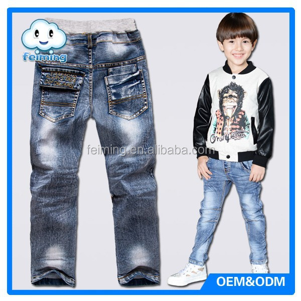 blue kids denim pants new design pattern embroidered jeans for boys