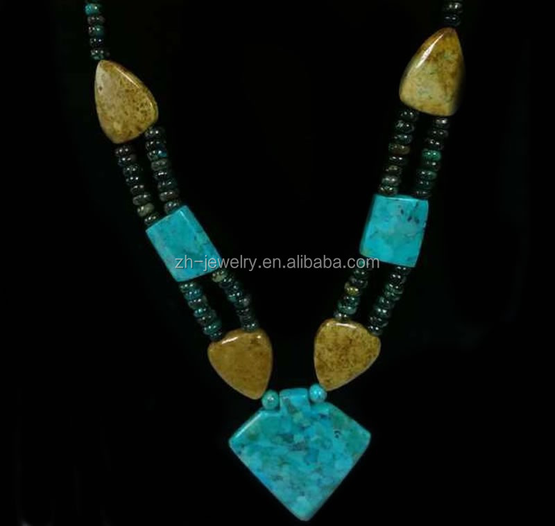 new USA style turquoise beads necklace jewelry wholesale
