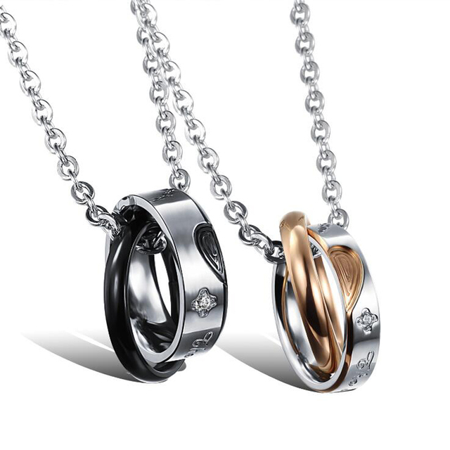 Fashion couple lovers necklace fashion necklace 2017 couples metal necklace