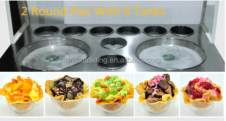 Double pans fried ice cream machine temperature control