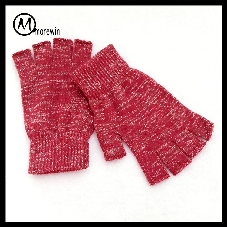 Morewin red and silver knitted half finger gloves
