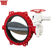 DN250 Resilient Seated U Type Butterfly Valve With Gear Operated