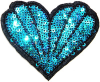 Blue Heart Sea Sequin Shine Shiny Patch Sew Iron on Embroidered Applique Craft