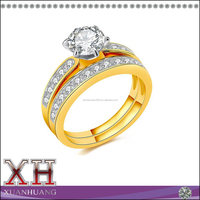 White CZ Yellow Gold Plated Wedding Band Engagement Ring