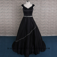 Sumptusous Cap Sleeves Beaded Black Satin A-line Wedding Gowns