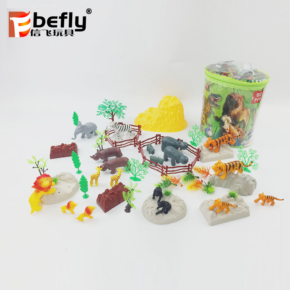 Funny cartoon mini toy plastic zoo animals with tree and rock